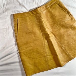 Yellow Leather Like Mini Skirt Size 6